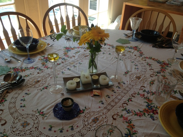 Shabbat Table set and ready for guests at the home of Helen Redman and Kenny Weissberg Summer 2013
