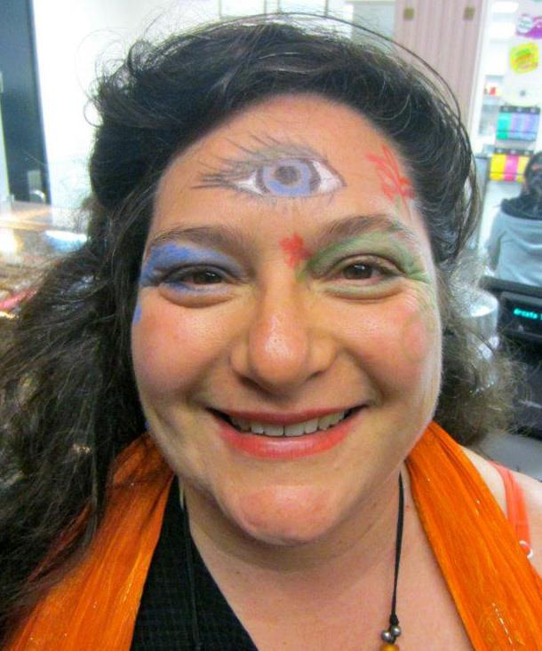Nicole, not really in costume, revealing her third eye.