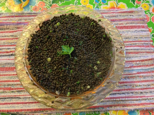Black Lentils, not the French Green ones, different recipe too, but the picture is a teaser for the next recipe
