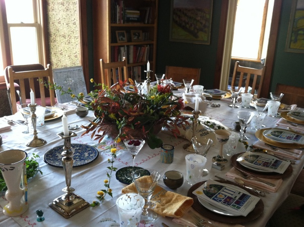 Seder Table in Feldman Home in Roseburg, Oregon home of Foon Winery