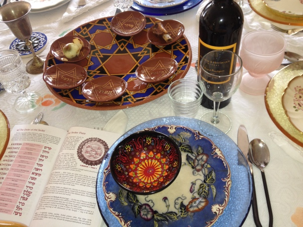 Pesach Table Setting with Seder Plate by Paul Barchilon at my home last year.