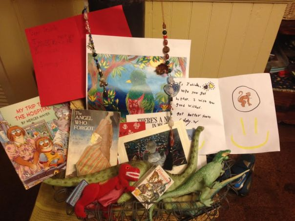 Here is the basket of goodies that includes the chain of beads we prayed over and made to send to Jesiah and Wade.