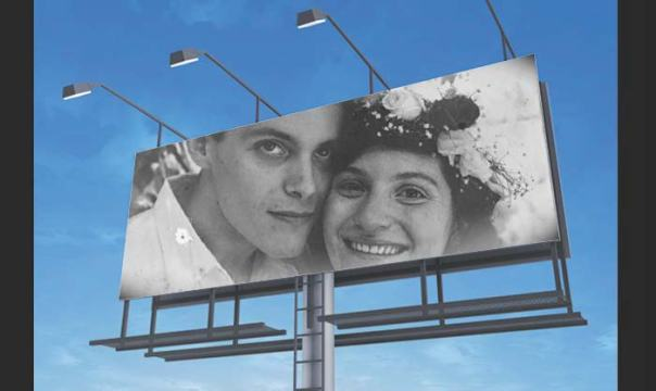 Kevin and Nicole May 14, 1989-Wedding Day, Billboard Photoshop made by Helen Redman