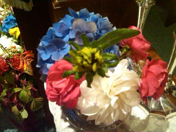 Radiant Healthy Flowers on the Bima from Redwood Roots Farm in honor of the Jewish New Year