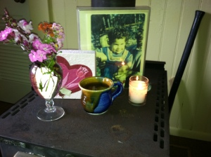 Yahrzeit Candle and memory altar for Paula on anniversary of her death.