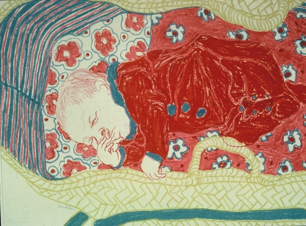 Moi/me in my pannier in Paris asleep and digesting yummy mommy milk. Nicole Asleep in her Basket by Helen Redman -1964