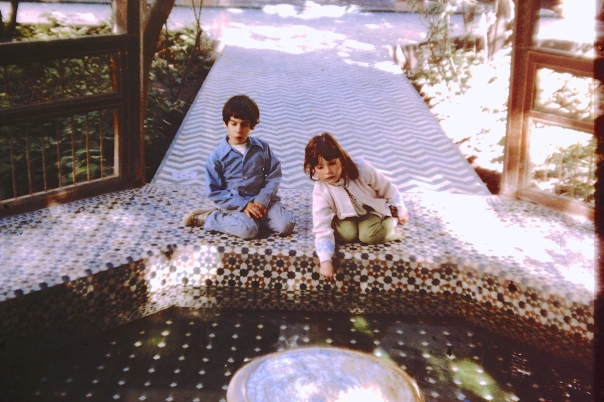 Two young Jews, my brother Paul and I, in Morocco, in a Moslem garden, at the inner pool.