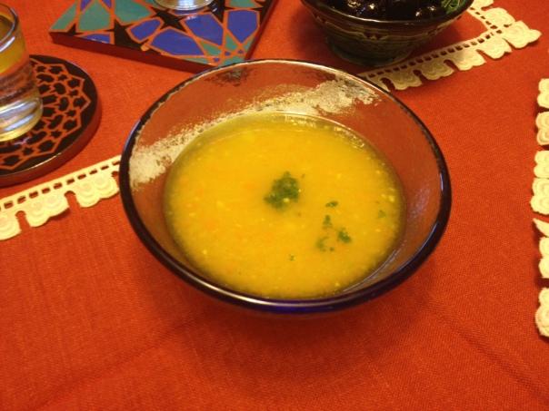 Batata Ben Lamoun soup in a Fire&Light dish, next to coasters made by Paul Barchilon