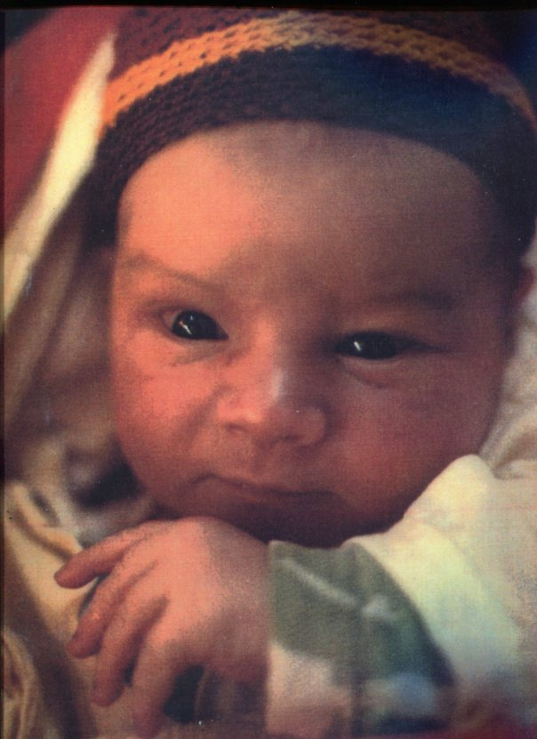Issac at one day old, January 14th, 1987. Photo taken at the Quiet House at Mountain Grove in Oregon.