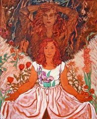 Nicole and Shadow 1983 by Helen Redman. This portrait of me ws done by my mother and shows my essential relationship with nature, magic and light and dark