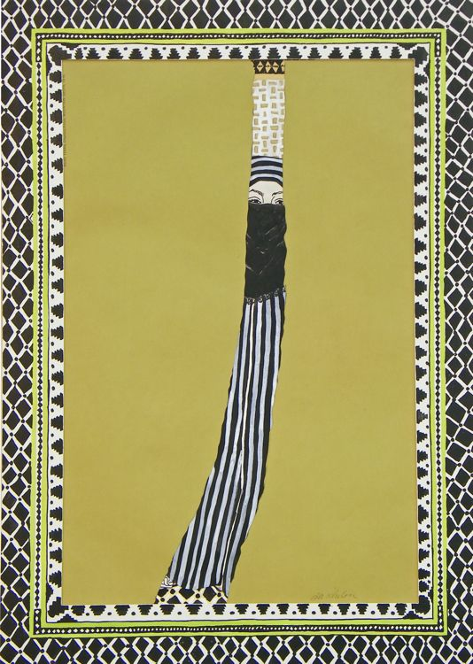 """Coup d'Oeil Marocain, 1971, pen, ink, collage on paper with (handpainted mat), 22""""x16"""""""