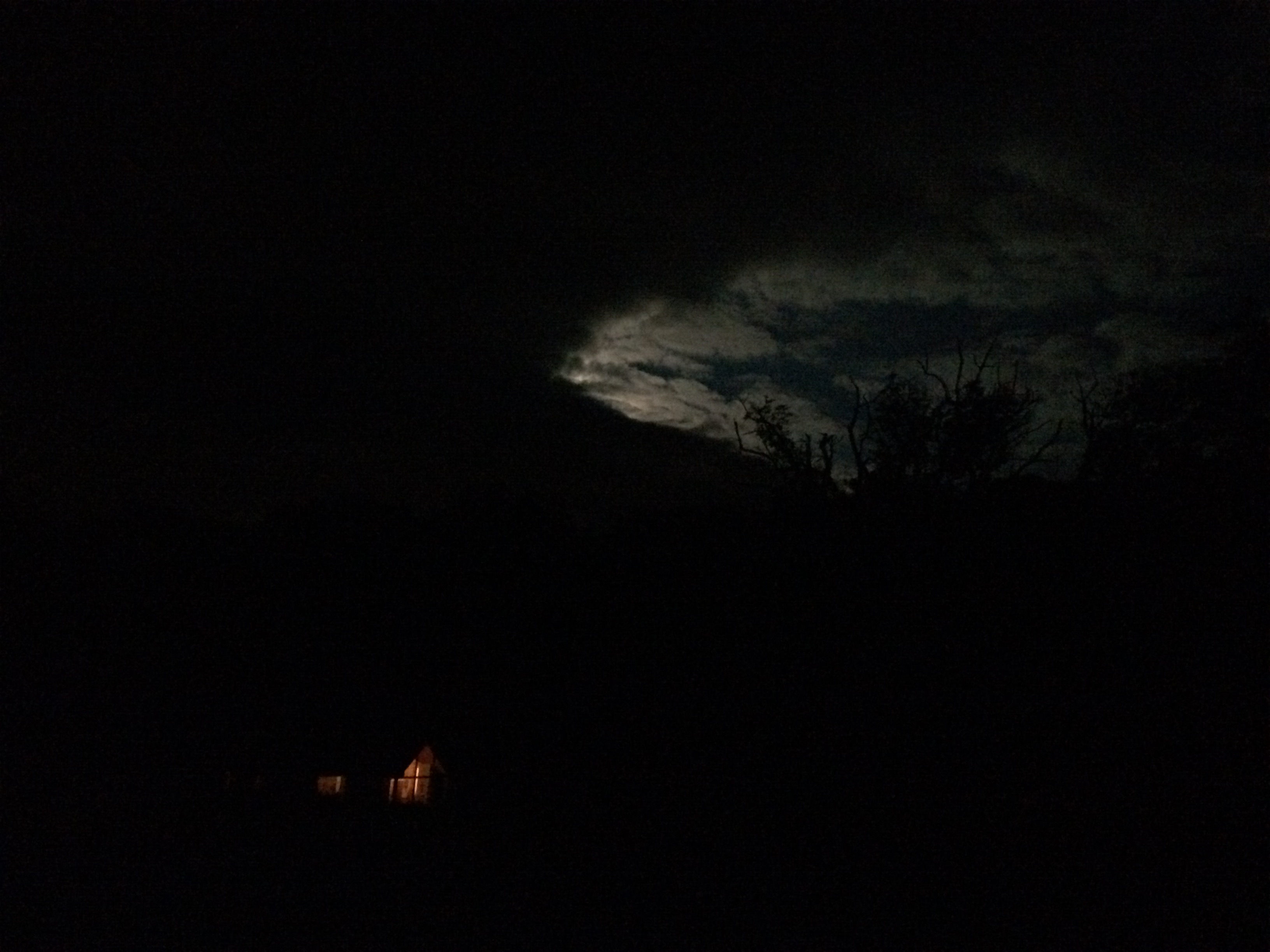 August Full Moon behind the clouds, my cabin, (named Clare) below, Hi Ney Ni/Here I Am, safe in Home and Hearth and Enraptured in Eire.