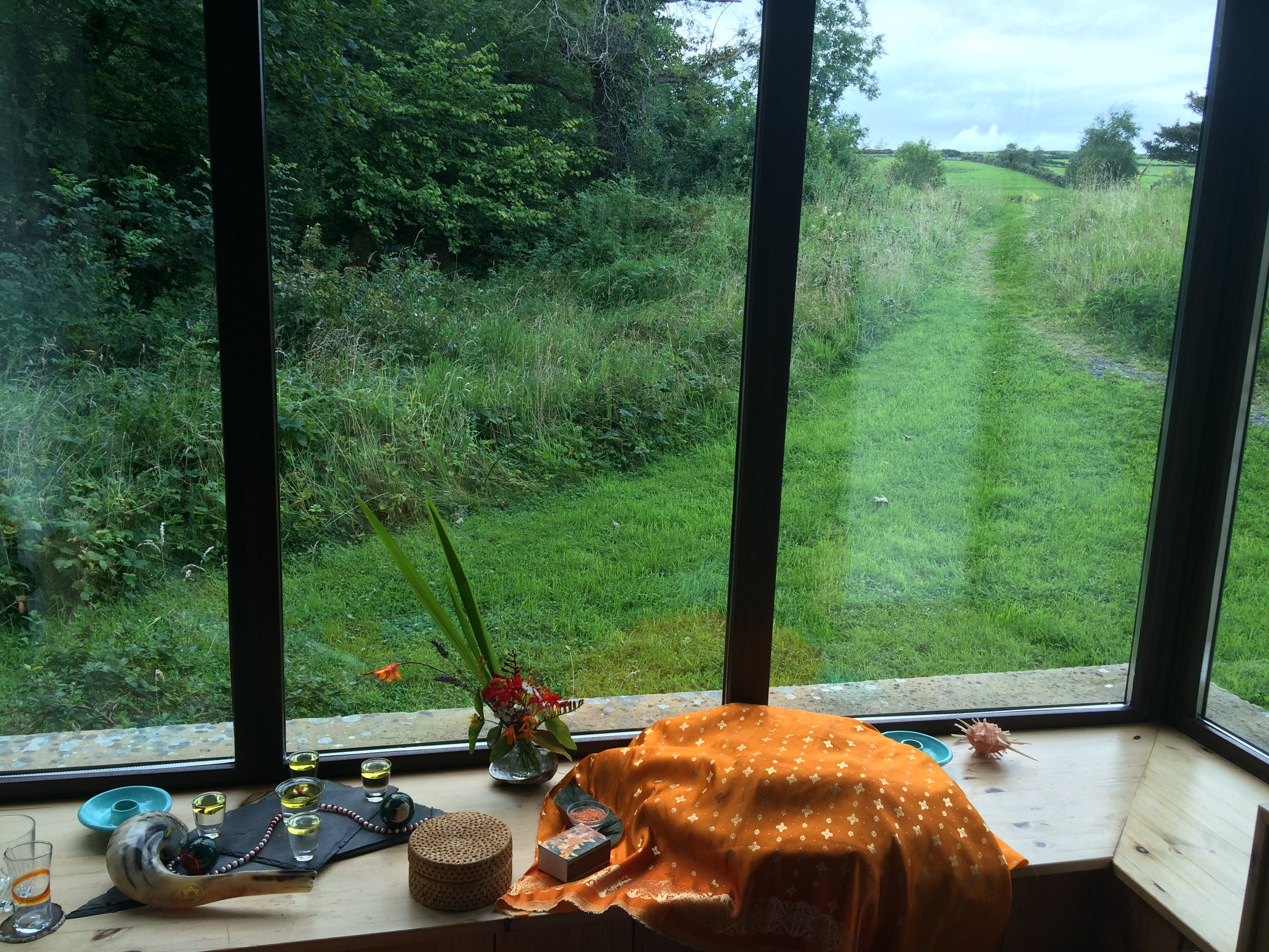 Shofar, Challah under orange cloth, Shabbat oil-wicks and one of my Holy Views right before Shabbat.