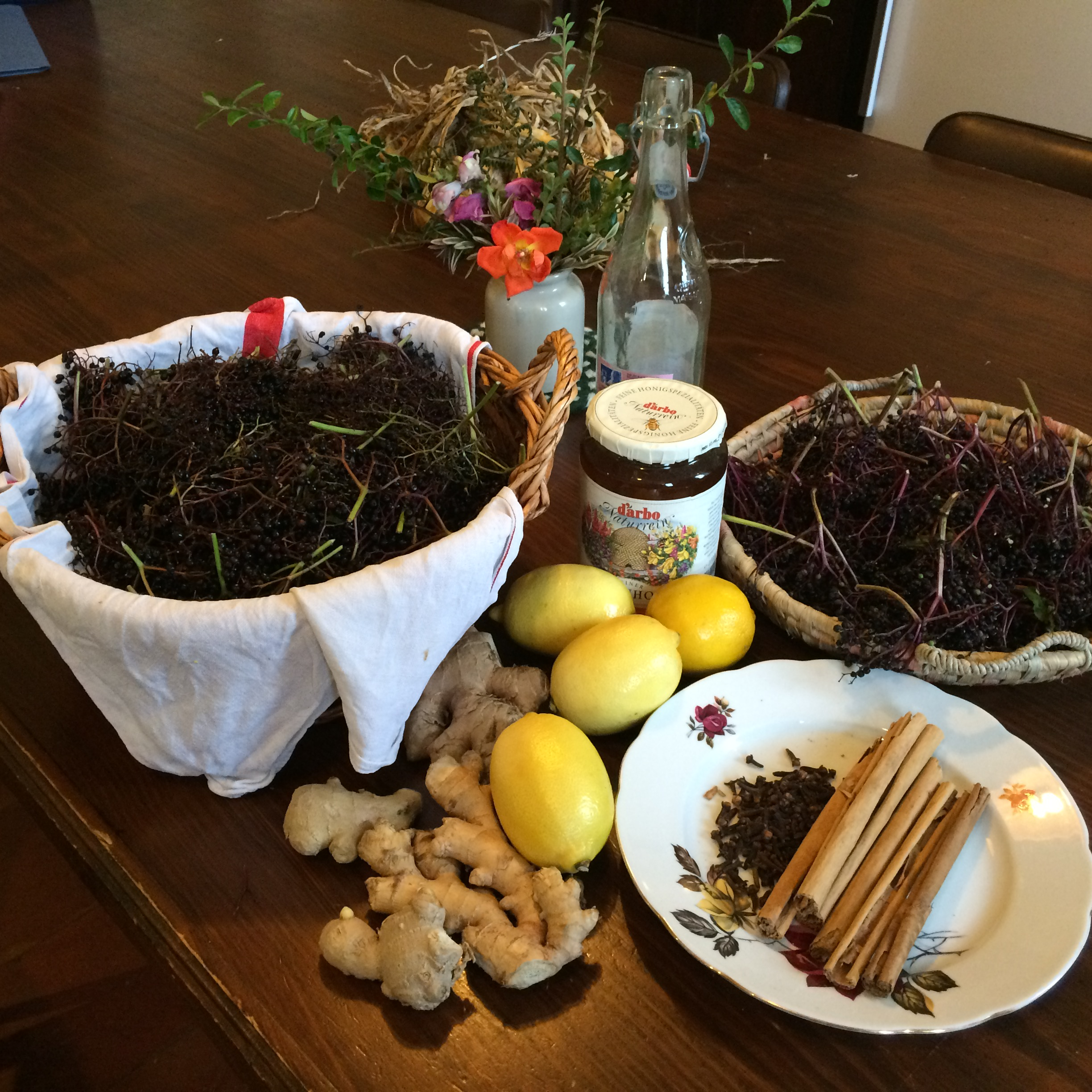 Ingredients for Elderberry Syrup Making